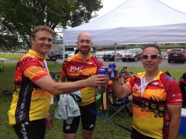 So these are the guys I rode a lot with... having a beer at mile 100!