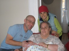 Michele and I with my mom holding two-week old Shannon.