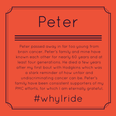 Peter passed away in far too young from brain cancer. Peter's family and mine have known each other for nearly 60 years and at least four generations. He died a few years after my first bout with Hodgkins which was a stark reminder of how unfair and undiscriminating cancer can be. Peter's family have been consistent supporters of my PMC efforts, for which I am eternally grateful.