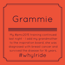 My #pmc2015 training continued last night - I add my grandmother to the inspiration board, she was diagnosed with breast cancer and survived the disease for 16 years. #whyIride