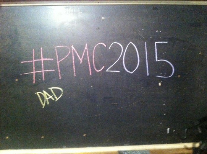Why I Ride the Pan-Mass Challenge: This is my view from my trainer in the basement. On November 4, 2014, I began my training for #PMC2015. Each session, I'll add a new name. First name this year - my dad, who is going through chemotherapy now for pancreatic cancer #dadchemo  #endcancer