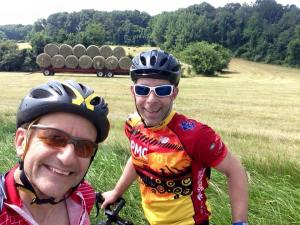 HAY! My training partner, Forza-G teammate, and friend Mark and I on training ride in Baltimore County (July 2015)